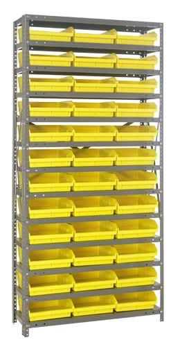 Steel Shelving with 36 Shelf Bins - 12 x 11 x 4 (V1275-109)  - Yellow