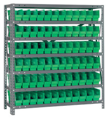 Steel Shelving with 72 Shelf Bins - 12 x 3 x 4 (V1239-100)