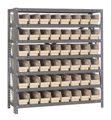 Steel Shelving with 48 Shelf Bins - 12 x 4 x 4 (V1239-101)