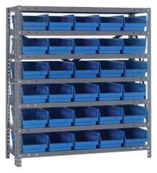 Steel Shelving with 30 Shelf Bins - 12 x 7 x 4 (V1239-102)