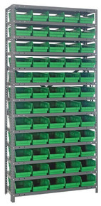 Steel Shelving with 60 Shelf Bins - 18 x 7 x 4 (V1875-104) - Green