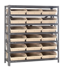 Steel Shelving with 18 Shelf Bins - 18 x 11 x 4 (V1839-110)