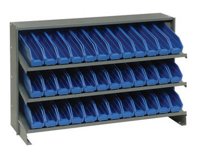 Steel Shelving with 36 Shelf Bins - 12 x 3 x 4 (VQPRHA-100) - Blue