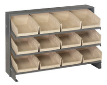 Steel Shelving with 12 Shelf Bins - 12 x 8 x 4 (VQPRHA-107)