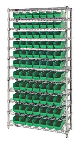 Wire Shelving 88 Shelf Bins 12x4x4 - Green