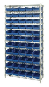 Wire Shelving with 55 Shelf Bins - 12 x 7 x 4 - Blue