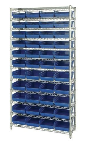 Wire Shelving with 44 Shelf Bins - 12 x 8 x 4 - Blue