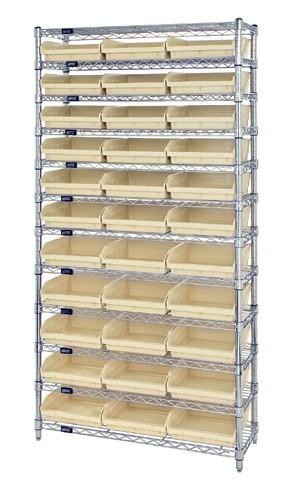 Wire Shelving with 33 Shelf Bins - 12 x 11 x 4  - Ivory