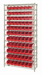 VWR12-103 SHELF BIN WIRE SHELVING SYSTEM - RED
