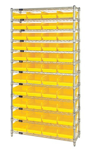 Wire Shelving with 44 Shelf Bins - 18 x 8 x 4 - Yellow