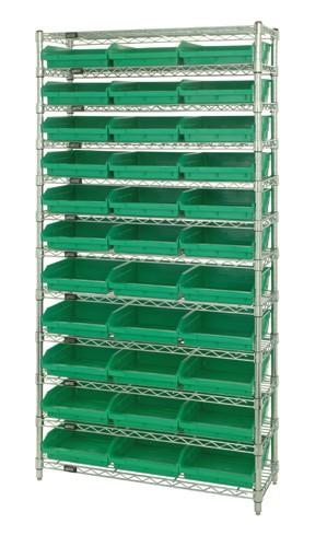 Wire Shelving with 33 Shelf Bins - 18 x 11 x 4 - Green