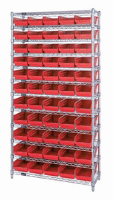 Wire Shelving with 55 Shelf Bins - 24 x 7 x 4 - Red