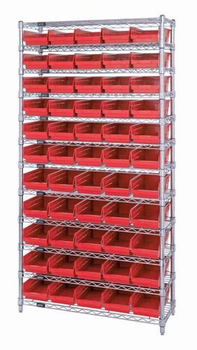 Wire Shelving with 55 Shelf Bins - 24 x 7 x 4 - Red