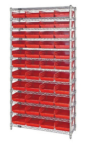 Wire Shelving with 44 Shelf Bins - 24 x 8 x 4 - Red