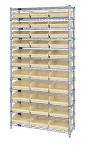 Wire Shelving with 33 Shelf Bins - 24 x 11 x 4 - Ivory