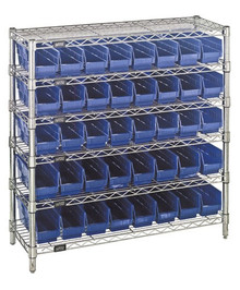 Wire Shelving with 40 Shelf Bins - 12 x 4 x 4 (VWR6-36-1236-101)