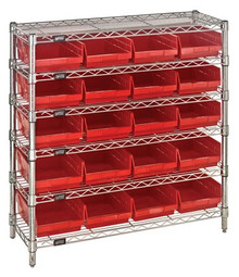 Wire Shelving with 20 Shelf Bins - 12 x 8 x 4 (VWR6-36-1236-107)