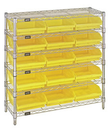 Wire Shelving with 15 Shelf Bins - 12 x 11 x 4 (VWR6-36-1236-109)