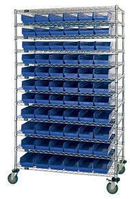 Wire Shelving with 66 Shelf Bins - 18 x 7 x 4 (VWR74-1848-66104)