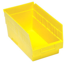 Plastic Shelf Bin - 30 Pack - 12 x 6 x 6 (VQSB202) - Yellow