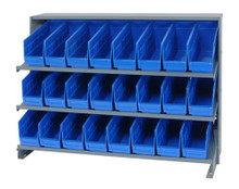 Sloped Shelf Bench Rack - 3 Shelves with 24 Bins - 12x4x6 (VQPRHA-201-BL)