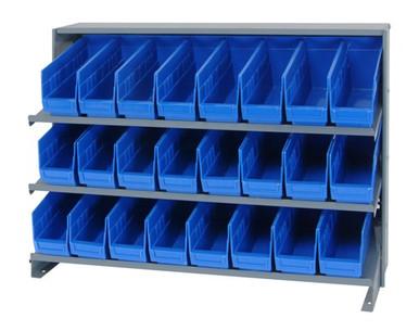 Sloped Shelf Bench Rack - 3 Shelves with 24 Bins - 12x4x6 (VQPRHA-201-BL)