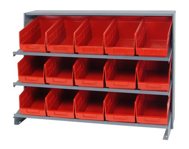 Sloped Shelf Bench Rack - 3 Shelves with 15 Bins - 12x7x6 (VQPRHA-202-RD)