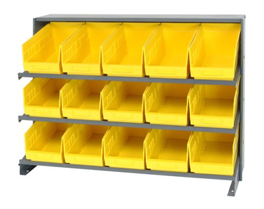 Sloped Shelf Bench Rack - 3 Shelves with 12 Bins - 12x8x6 (VQPRHA-207-YL)