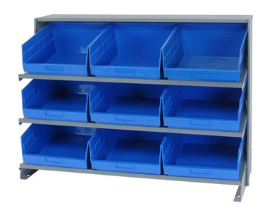 Sloped Shelf Bench Rack - 3 Shelves with 9 Bins - 12x11x6 (VQPRHA-209-BL)