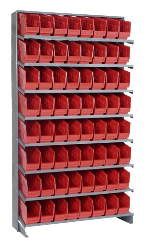 Sloped Shelf Bench Rack - 8 Shelves with 64 Bins - 12 x 4 x 6 (VQPRS-201-RD)