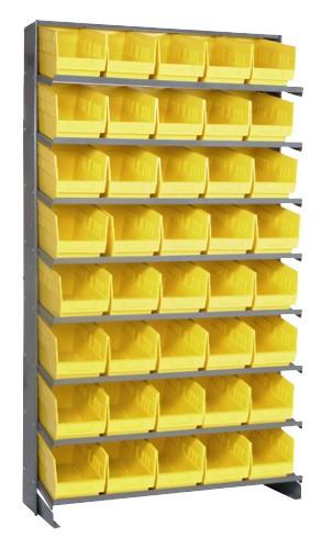 Sloped Shelf Bench Rack - 8 Shelves with 40 Bins - 12 x 7 x 6 (VQPRS-202-YL)