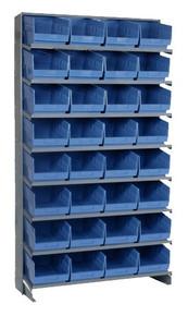 Sloped Shelf Bench Rack - 8 Shelves with 32 Bins - 12 x 8 x 6 (VQPRS-207-BL)