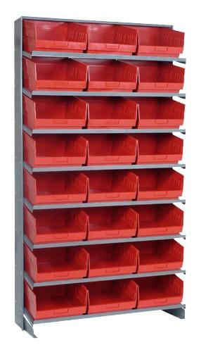 Sloped Shelf Bench Rack - 8 Shelves with 24 Bins - 12 x 11 x 6 (VQPRS-209-RD)