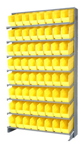 Sloped Shelf Bench Rack - 8 Shelves with 64 Bins - 18 x 4 x 6 (VQPRS-203-YL)