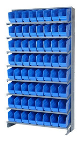 Sloped Shelf Bench Rack - 8 Shelves with 40 Bins - 18 x 7 x 6 (VQPRS-204-BL)