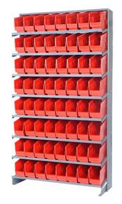 Sloped Shelf Bench Rack - 8 Shelves with 32 Bins - 18 x 8 x 6 (VQPRS-208-RD)