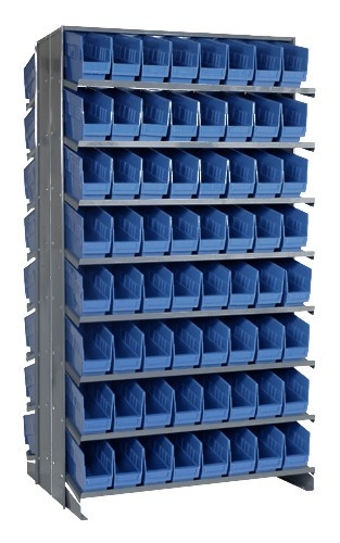 Sloped Shelf Bench Rack - 16 Shelves with 128 Bins - 24 x 4 x 6 (VQPRD-201-BL)