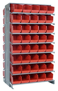Sloped Shelf Bench Rack - 16 Shelves with 80 Bins - 24 x 7 x 6 (VQPRD-202-RD)