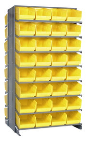 Sloped Shelf Bench Rack - 16 Shelves with 64 Bins - 24 x 8 x 6 (VQPRD-207-YL)