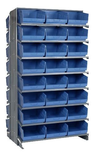 Sloped Shelf Bench Rack - 16 Shelves with 48 Bins - 24 x 11 x 6 (VQPRD-209-BL)