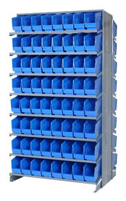 Sloped Shelf Bench Rack - 16 Shelves with 64 Bins - 18 x 8 x 6 (VQPRD-208-BL)