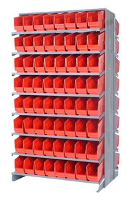 Sloped Shelf Bench Rack - 16 Shelves with 48 Bins - 18 x 11 x 6 (VQPRD-210-RD)