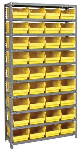Steel Shelving System 10 Shelves - 36 Bins - 12 x 8 x 6 (V1275-207-YL)