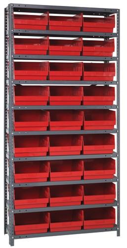 Steel Shelving System 10 Shelves - 27 Bins - 12 x 11 x 6 (V1275-209-RD)