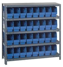 Steel Shelving System 5 Shelves - 32 Bins -12 x 4 x 6 (V1239-201-BL)