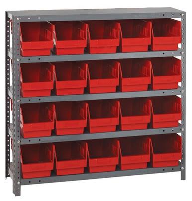 Steel Shelving System 5 Shelves - 20 Bins - 12 x 7 x 6 (V1239-202-RD)