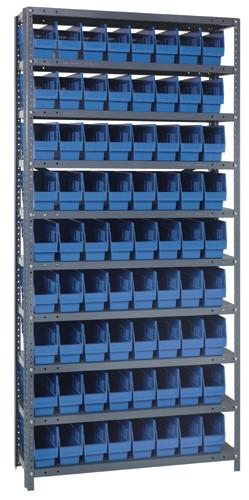 Steel Shelving System 10 Shelves - 72 Bins - 18 x 4 x 6 (V1875-203-BL)
