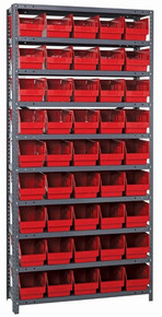 Steel Shelving System 10 Shelves - 45 Bins - 18 x 7 x 6 (V1875-204-RD)