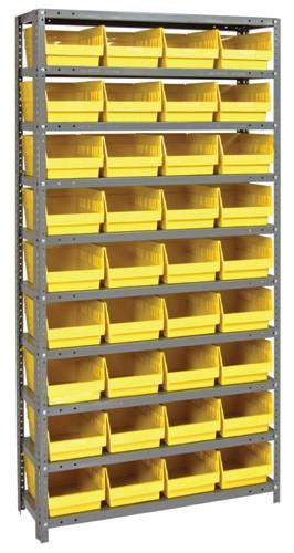 Steel Shelving System 10 Shelves - 36 Bins - 18 x 8 x 6 (V1875-208-YL)