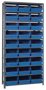 Steel Shelving System 10 Shelves - 27 Bins - 18 x 11 x 6 (V1875-210-BL)